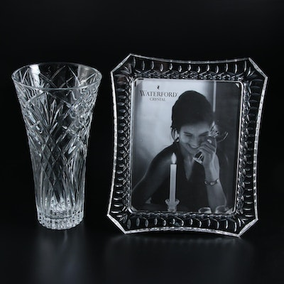 "Waterford ""Lismore"" Crystal Picture Frame and Other Glass Vase"