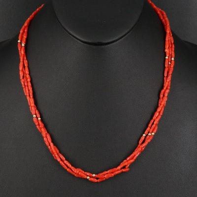 14K Coral Torsade Necklace