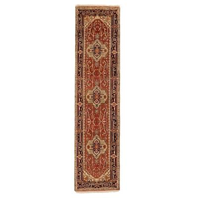 2'7 x 10'6 Hand-Knotted Indo-Persian Heriz Serapi Carpet Runner, 2010s