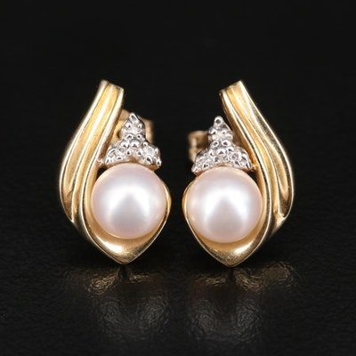 14K Pearl and Diamond Earrings