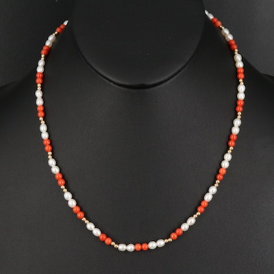 14K Coral and Pearl Necklace
