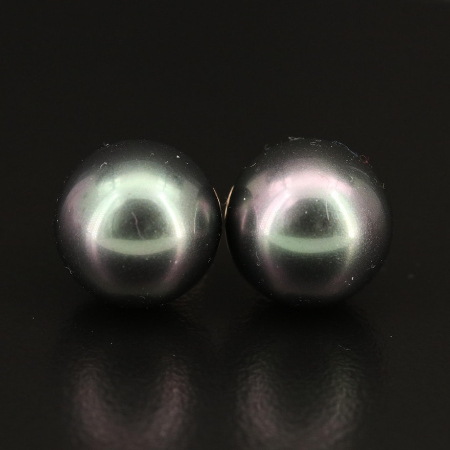 14K Imitation Pearl Stud Earrings