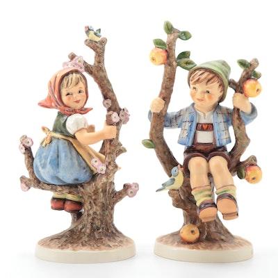 "Goebel Hummel ""Apple Tree Boy"" and Apple Tree Girl"" Porcelain Figurines"