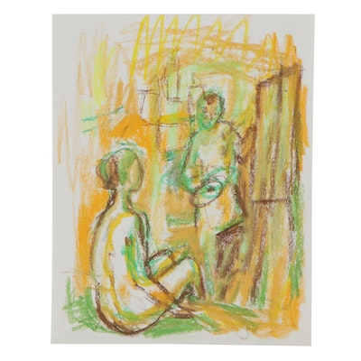 Murat Kaboulov Abstract Pastel Drawing of Seated Figure in Art Studio