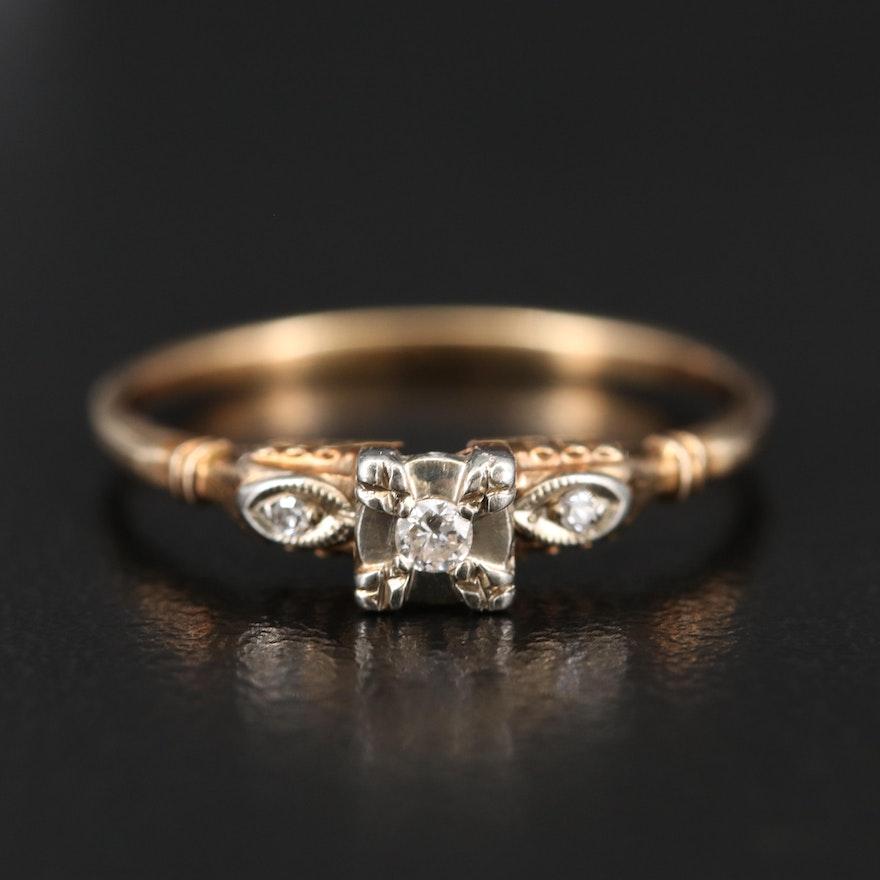 Vintage 14K Diamond Ring with Milgrain Detail