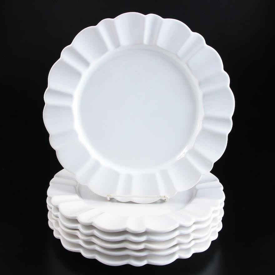 "Porta ""Alberi White"" Ceramic Dinner Plates, Late 20th Century"