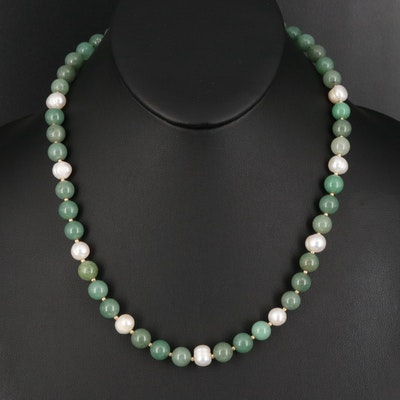 14K Aventurine and Pearl Beaded Necklace