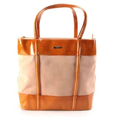 Gucci Large Tote in Suede with Orange Patent Leather Trim