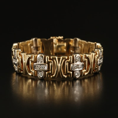 Italian 14K 1.84 CTW Diamond 'X' and Cross Link Bracelet