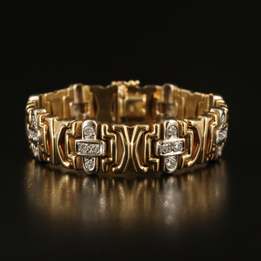 Italian 14K 1.84 CTW Diamond 'X' and Cross Link Bracelet