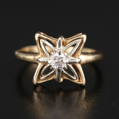 14K Two Tone 0.14 CT Diamond Openwork Solitaire Ring