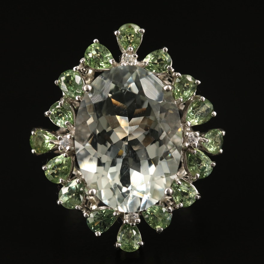 14K Prasiolite and Topaz Cocktail Ring with 10.44 CT Center