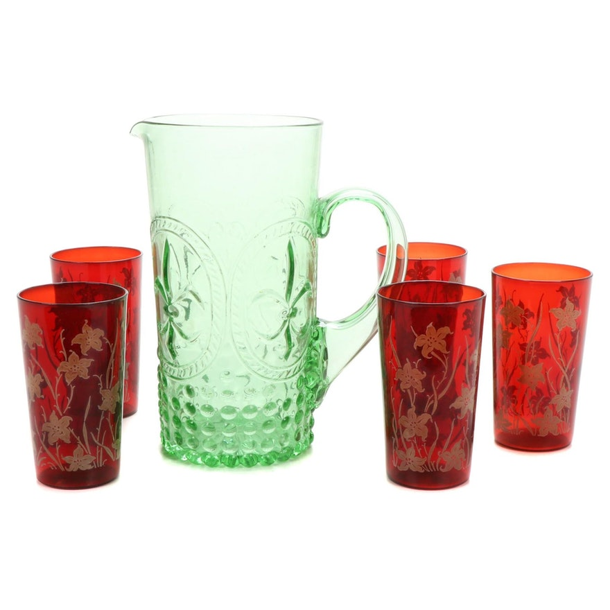 Vintage Pressed Glass Fleur de Lis Pitcher and Ruby Glassware, Mid-Late 20th C.