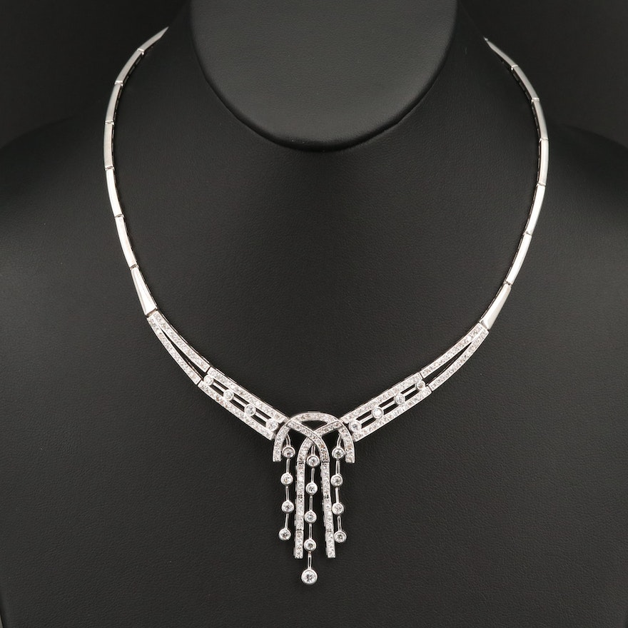 Art Deco Style 14K Articulated Cubic Zirconia Necklace