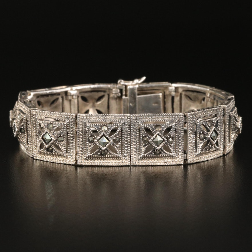 Vintage Sterling Silver Geometric Panel Bracelet with Marcasite Accents