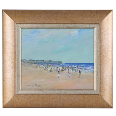 Donald Fraser Oil Painting of a Beach Scene