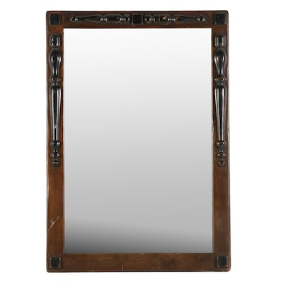 Walnut-Stained Wooden Mirror, Early to Mid 20th Century