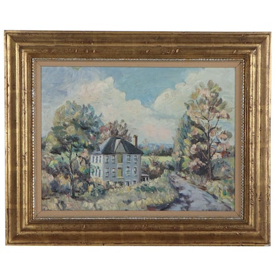 Impressionist Style Landscape Oil Painting, Late 20th Century