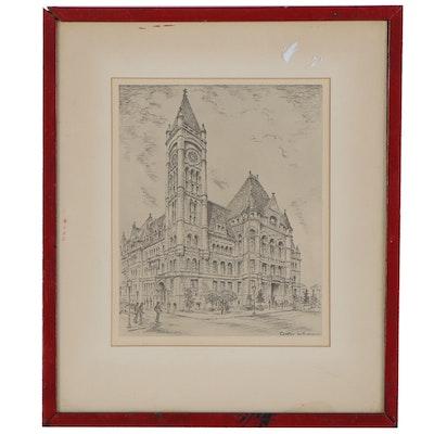 Halftone after Caroline Williams of Cincinnati City Hall