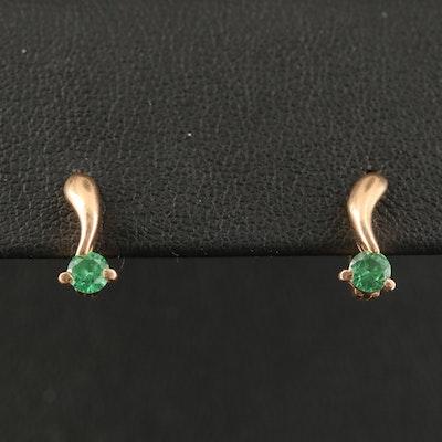 Russian 14K Tsavorite Drop Earrings