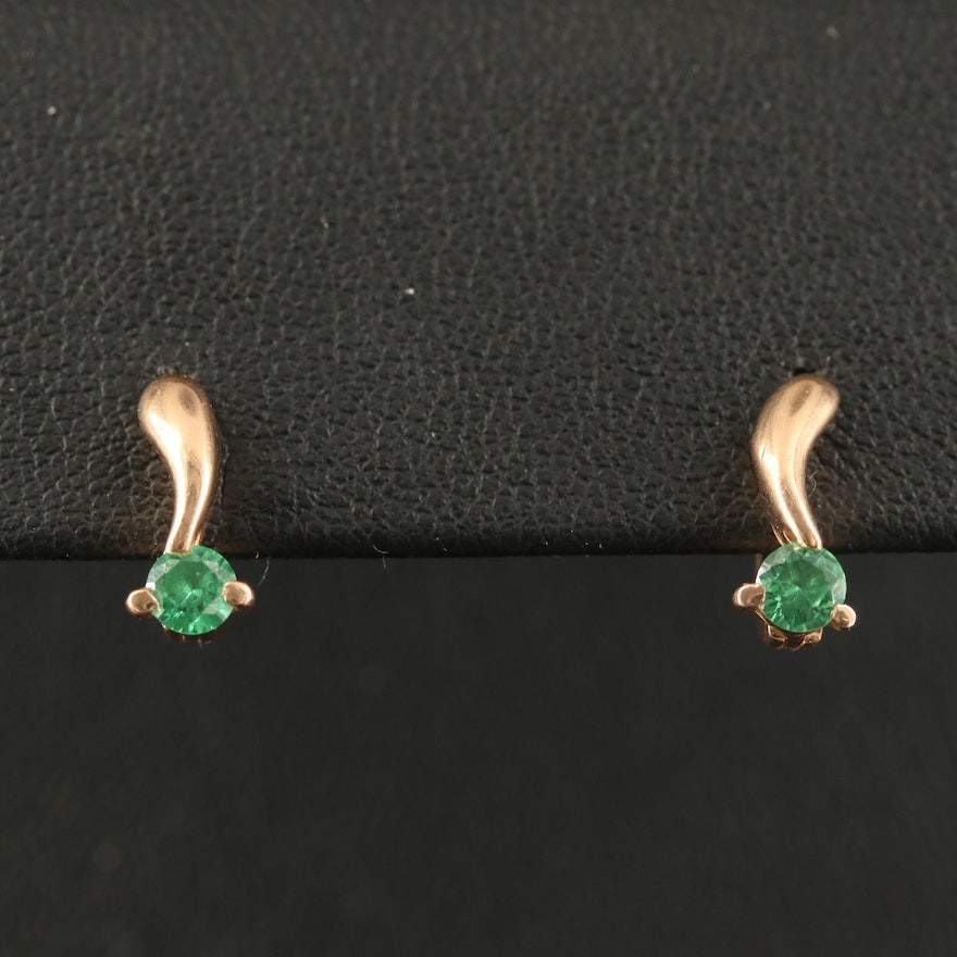 Russian 14K Tsavorite Drop Earrings