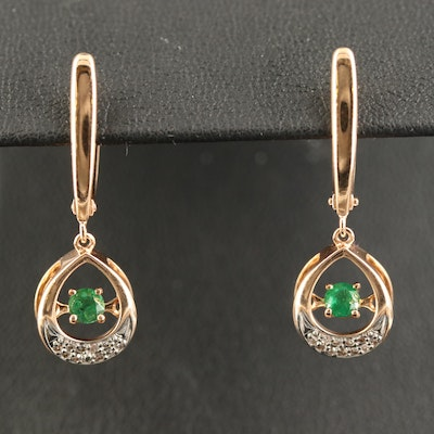 Russian 14K Emerald and Diamond Trembler Earrings