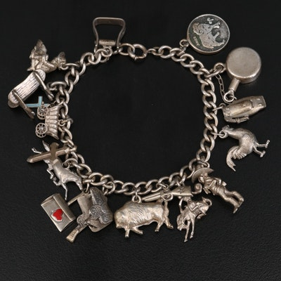 Vintage Sterling Western Themed Charm Bracelet with Enamel