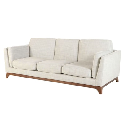 "Article ""Ceni"" Mid Century Modern Style Upholstered Sofa with Wood Base"