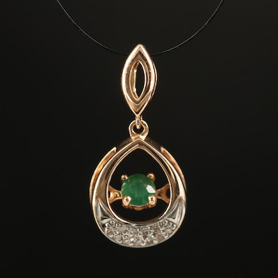 Russian 14K Rose Gold Emerald and Diamond Trembler Pendant