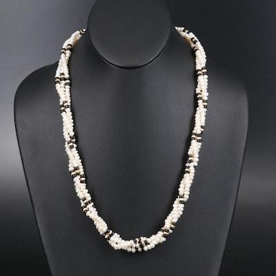 14K Pearl and Black Onyx Torsade
