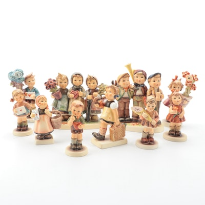 "Goebel Hummel Porcelain Figurines Including ""Traveling Trio"" and ""Be Mine"""