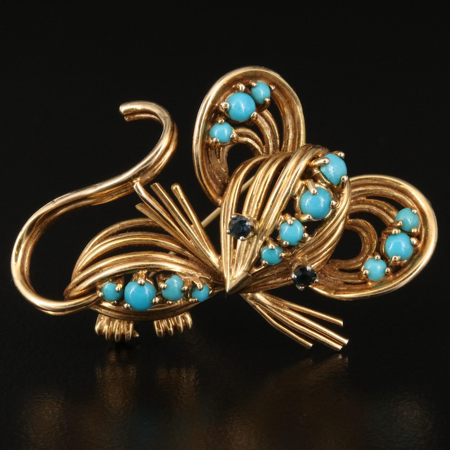 1950s 14K Turquoise and Sapphire Mouse Brooch