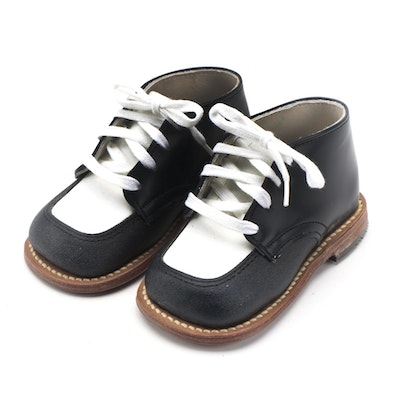 Children's Saddle Shoes by Foot Traits in Black and White Leather with Box
