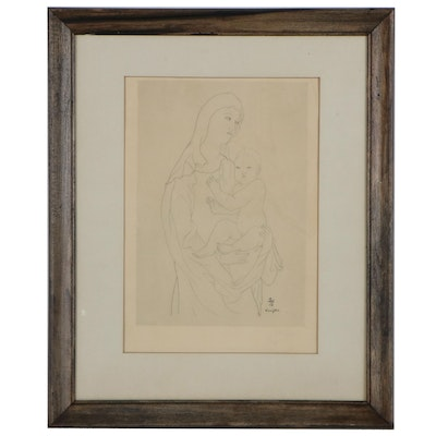 Etching after Léonard Tsuguharu Foujita of Madonna and Child