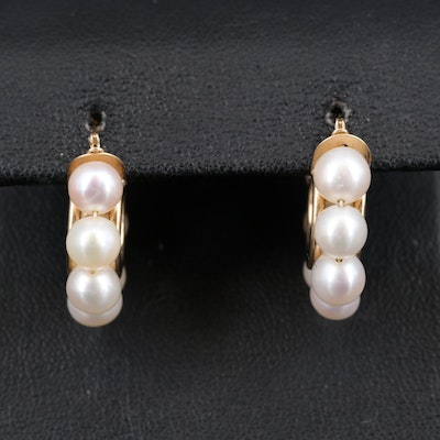 14K Pearl Hoop Earrings