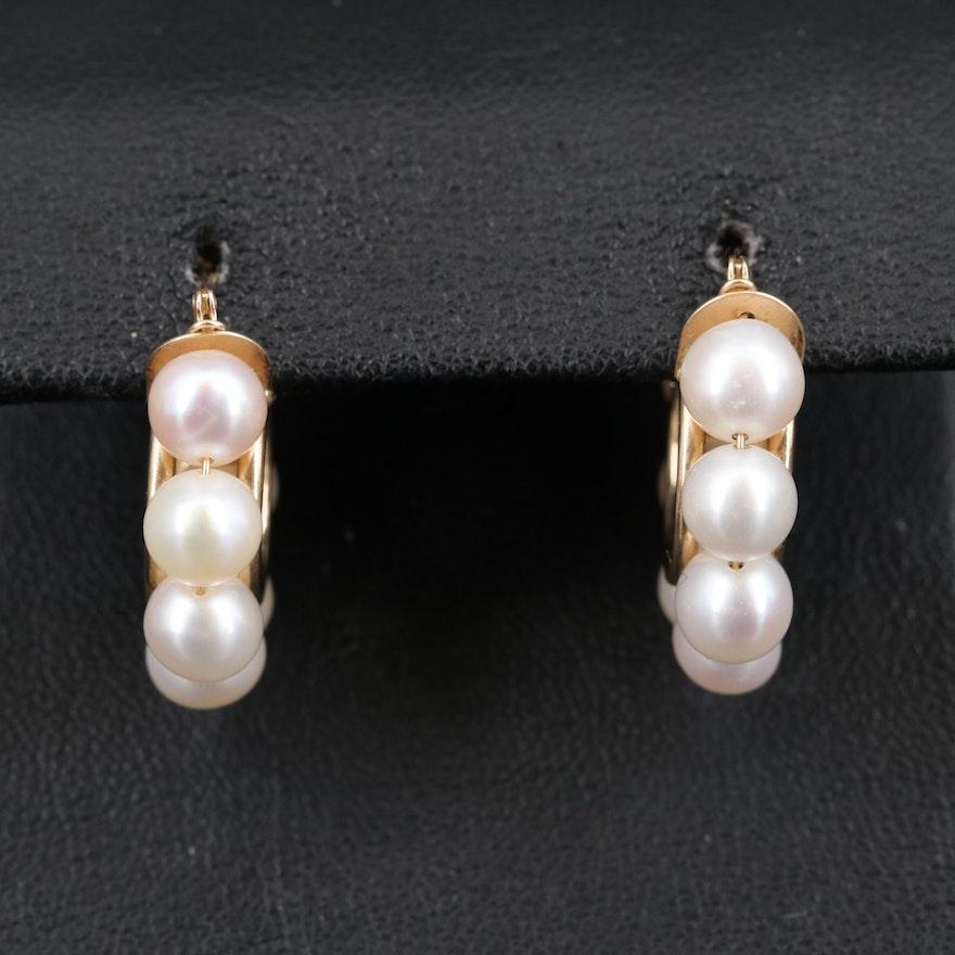 14K Pearl Hoop Earrings