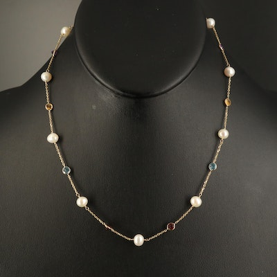 14K Gemstone and Pearl Station Necklace