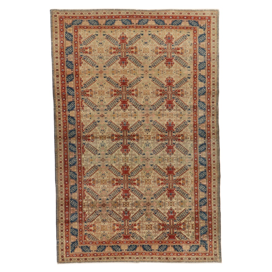 6'6 x 9'6 Hand-Knotted Turkish Caucasian Rug, 1930s