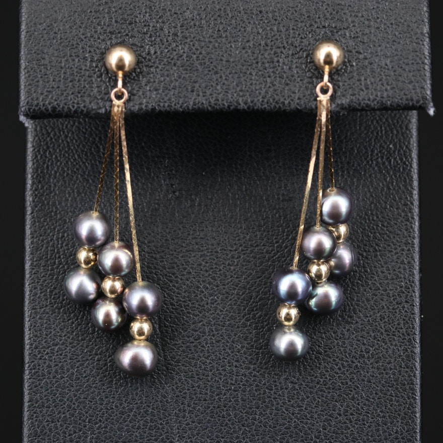 14K Pearl Dangle Earrings