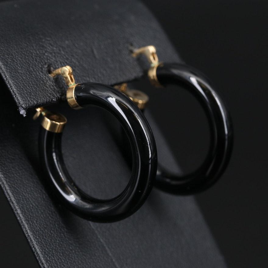 14K Black Onyx Hoop Earrings