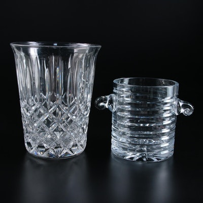 Scroll Handle Crystal Ice Bucket and Champagne Bucket, Late 20th to 21st Century