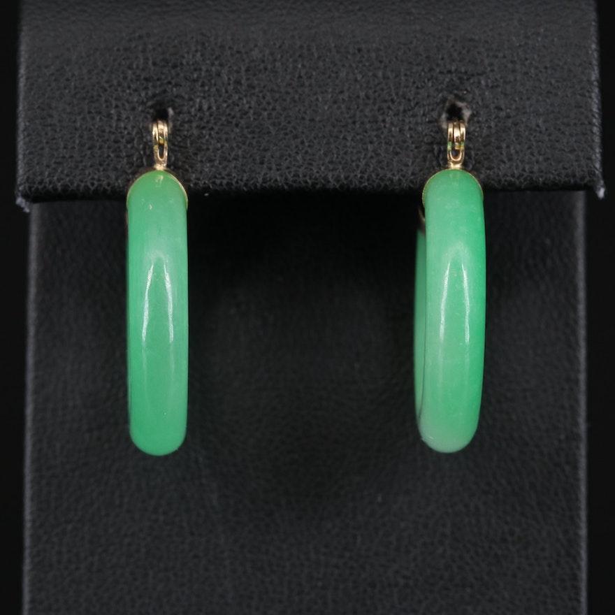14K Hololith Jadeite Hoop Earrings
