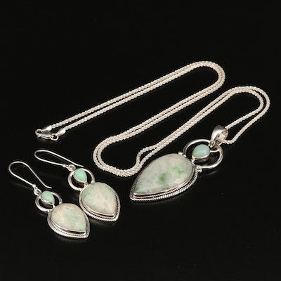 Arya Sterling Jadeite and Chalcedony Necklace and Earring Set