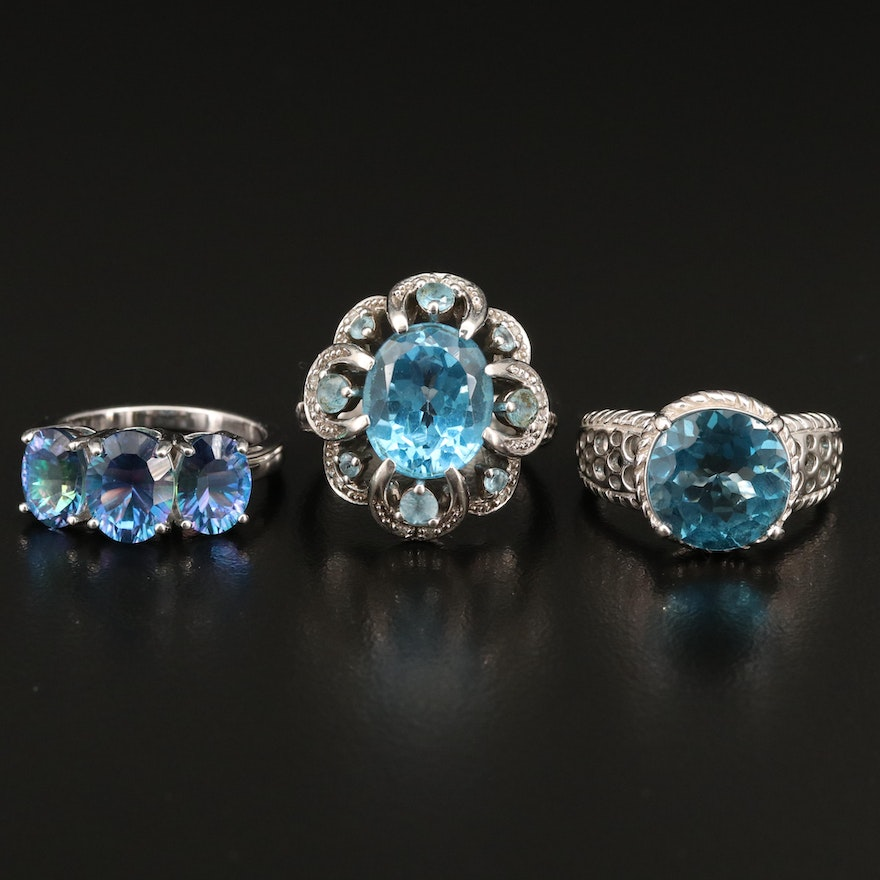 Sterling Silver Topaz, Diamond and Quartz Rings
