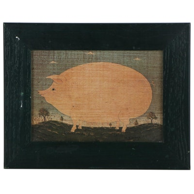 Folk Art Offset Lithograph after Warren Kimble of a Pig