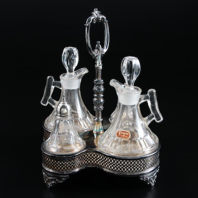 """Fostoria """"Raleigh"""" Glass Condiment Set with Silver Plate Caddy"""