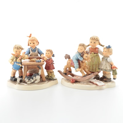 "Goebel Hummel ""Baker's Delight"" and ""Learning to Share"" Porcelain Figurines"