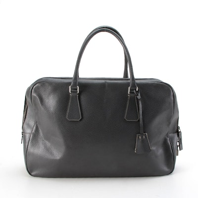Prada Large Briefcase in Grey Textured Leather with Contrast Stitching