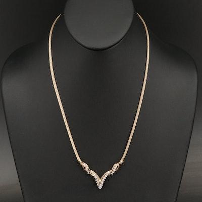 14K 1.00 CTW Diamond Chevron Necklace with Foxtail Chain