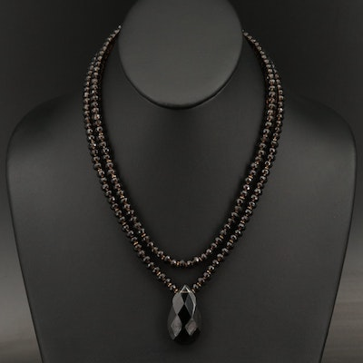 Smoky Quartz Double Strand Necklace with 14K Clasp